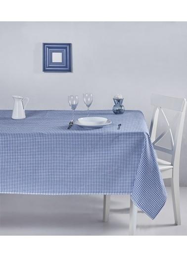 Denizli Concept Pötikareli Masa Örtüsü 170x220 Mavi
